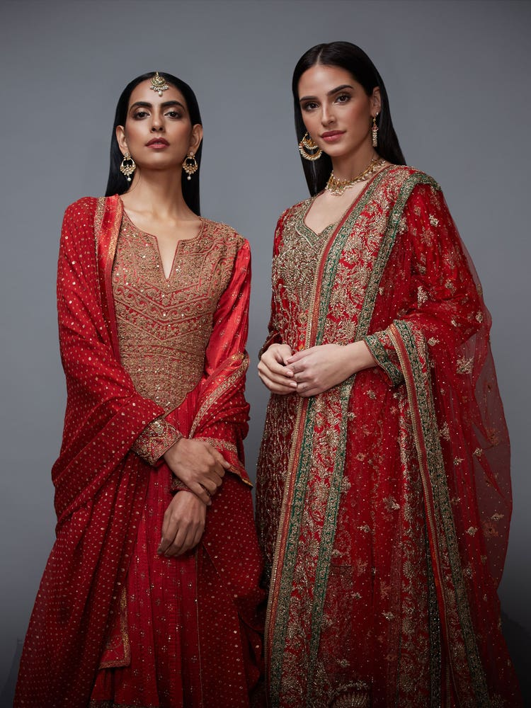 Red & Gold Bandhni Bhopali Zardozi Embroidered Suit Set