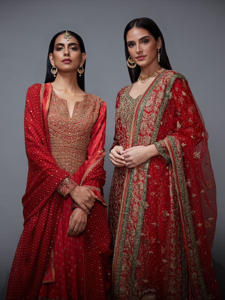 Red & Gold Zardozi Embroidered Suit Set