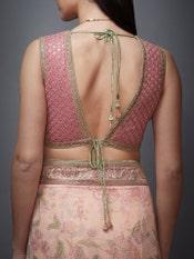 Pink Nandi Printed Saree With Stitched Blouse