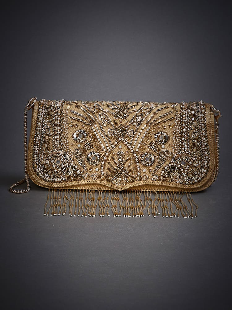 Gold Embroidered Sling Bag
