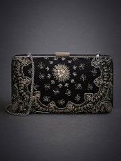 Black Black Swan Embroidered Clutch