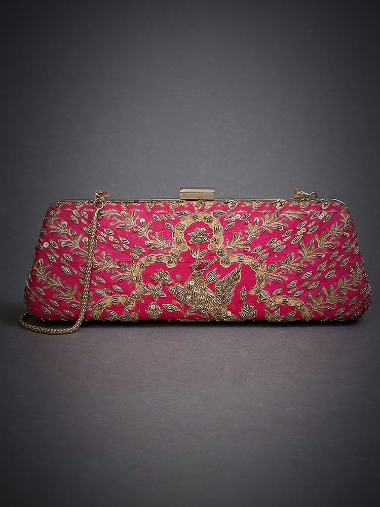 Magenta Pink Embroidered Clutch