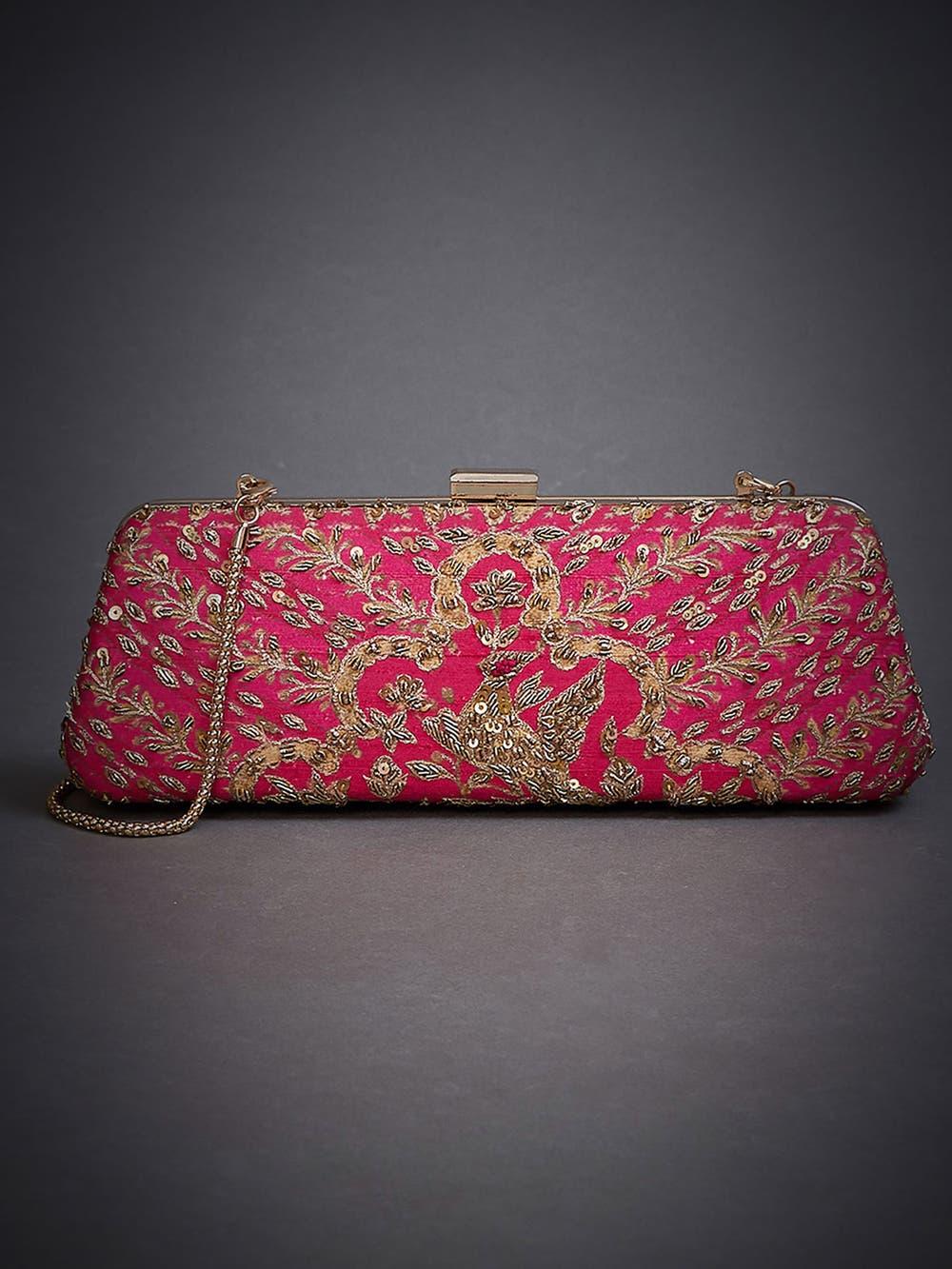 Magenta Pink Jasveera Embroidered Clutch