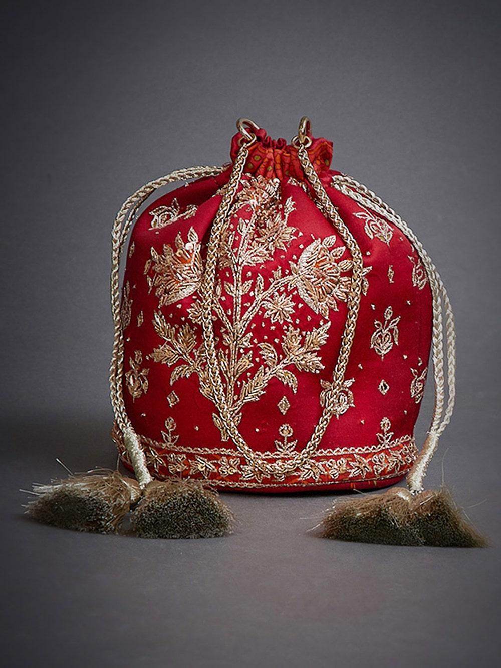 Red Jaya Embroidered Potli