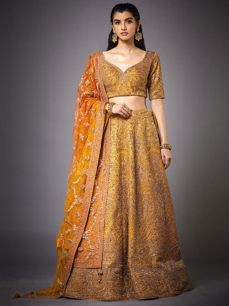 Ochre Yellow & Gold Zardozi Embroidered Lehenga Set