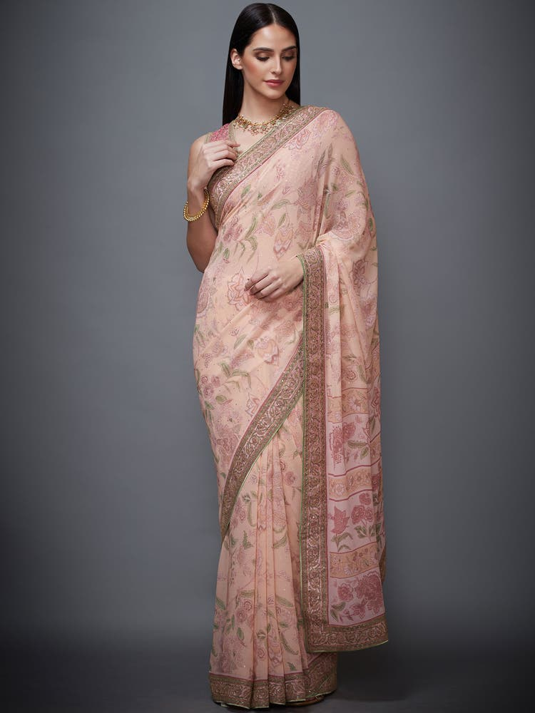 Pink Printed Saree with Stitched Blouse