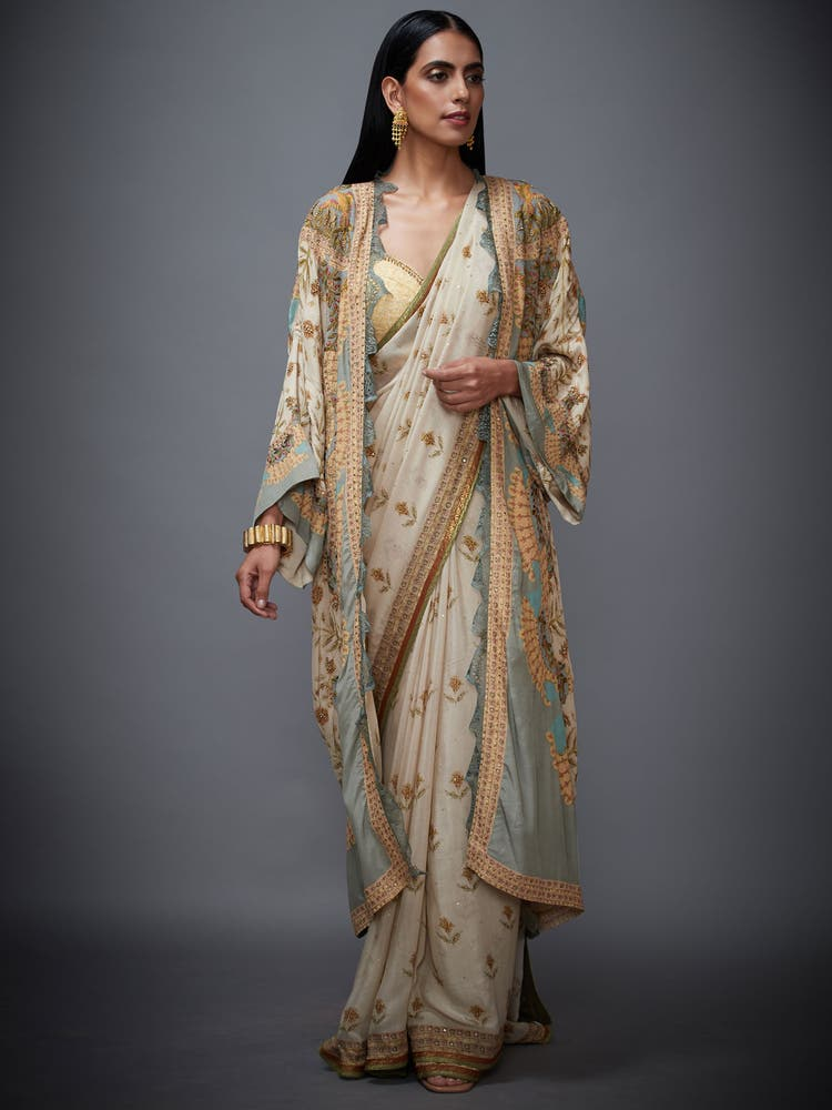 Beige & Sage Green Chisti Printed Saree With Jacket