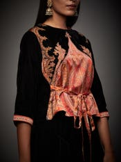 Black & Burgundy Pankh Jamawar Embroidered Ensemble