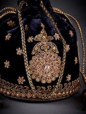 Black Silk Velvet Potli