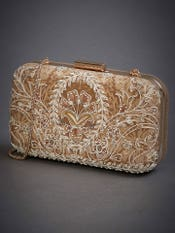 Gold Eksika Embroidered Clutch