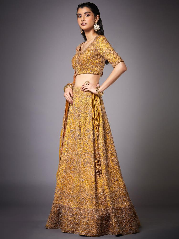 Ochre Yellow & Gold Zardozi Embroidered Lehenga Set