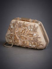 Beige Kunjara Embroidered Clutch