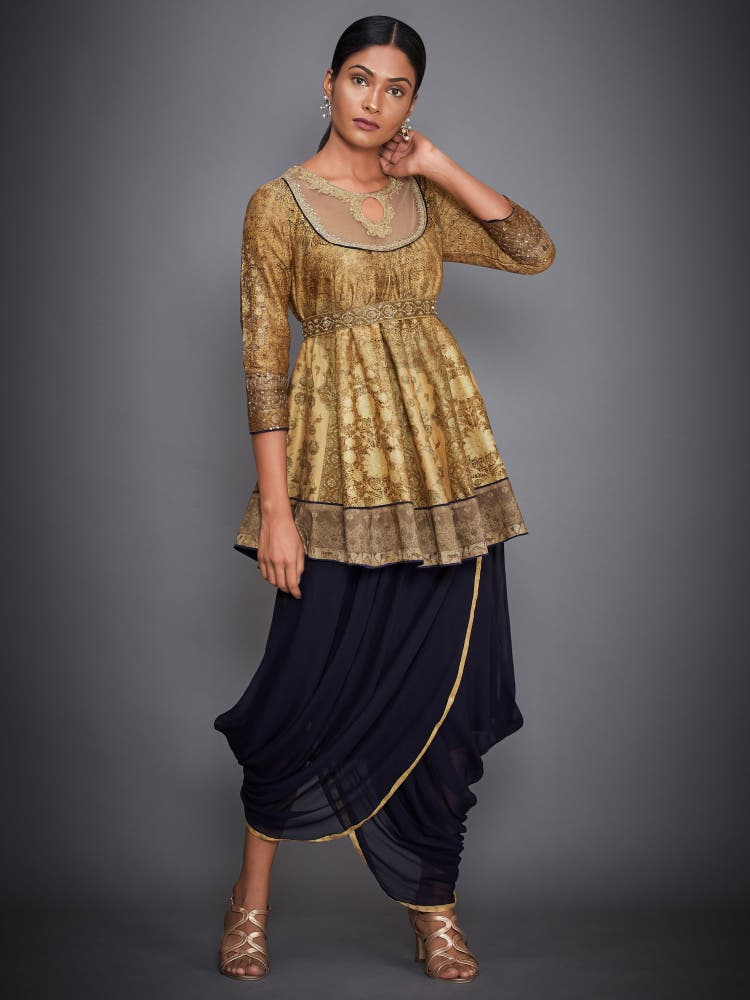 Gold & Navy Aari Embroidered Kurti With Dhoti Pants