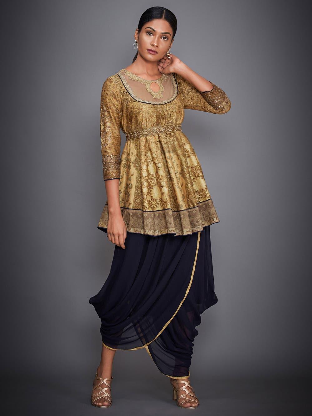 Gold & Navy Aari Embroidered Kurti With Dhoti Pants