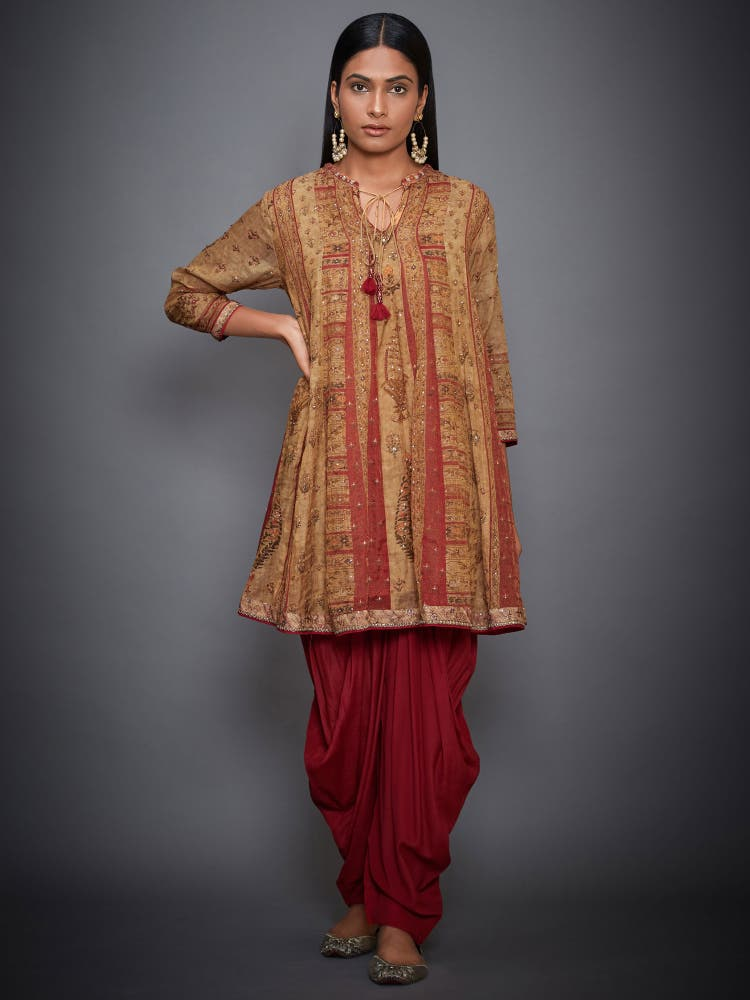 Ochre & Red Embroidered Ensemble