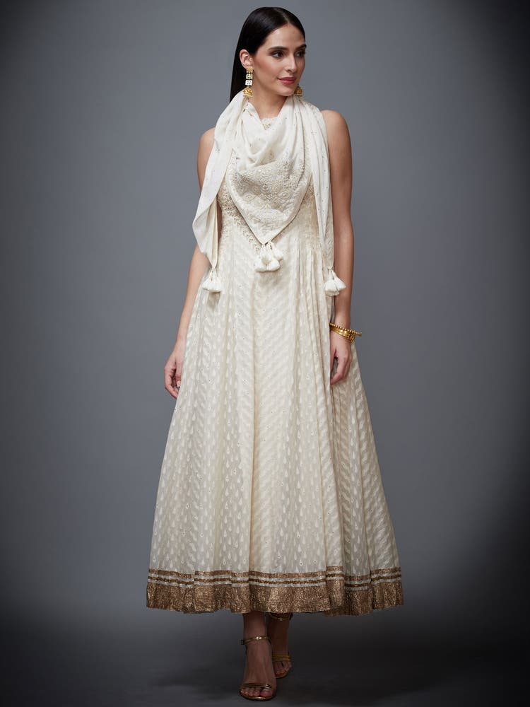 Off White Gold Palace Embroidered Halter Dress With Scarf