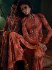 Coral & Gold Satnam Embroidered Ensemble