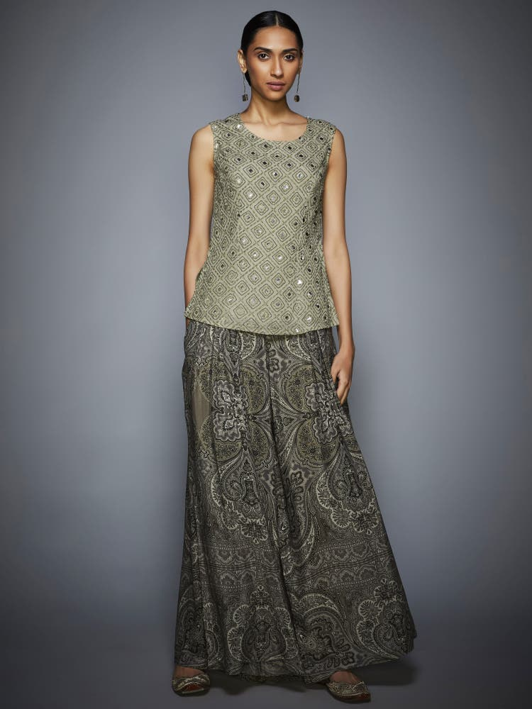 Grey Embroidered Kurti With Trousers