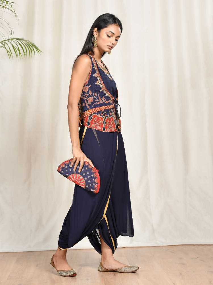 Navy Blue Embroidered Kurta With Dhoti Pants