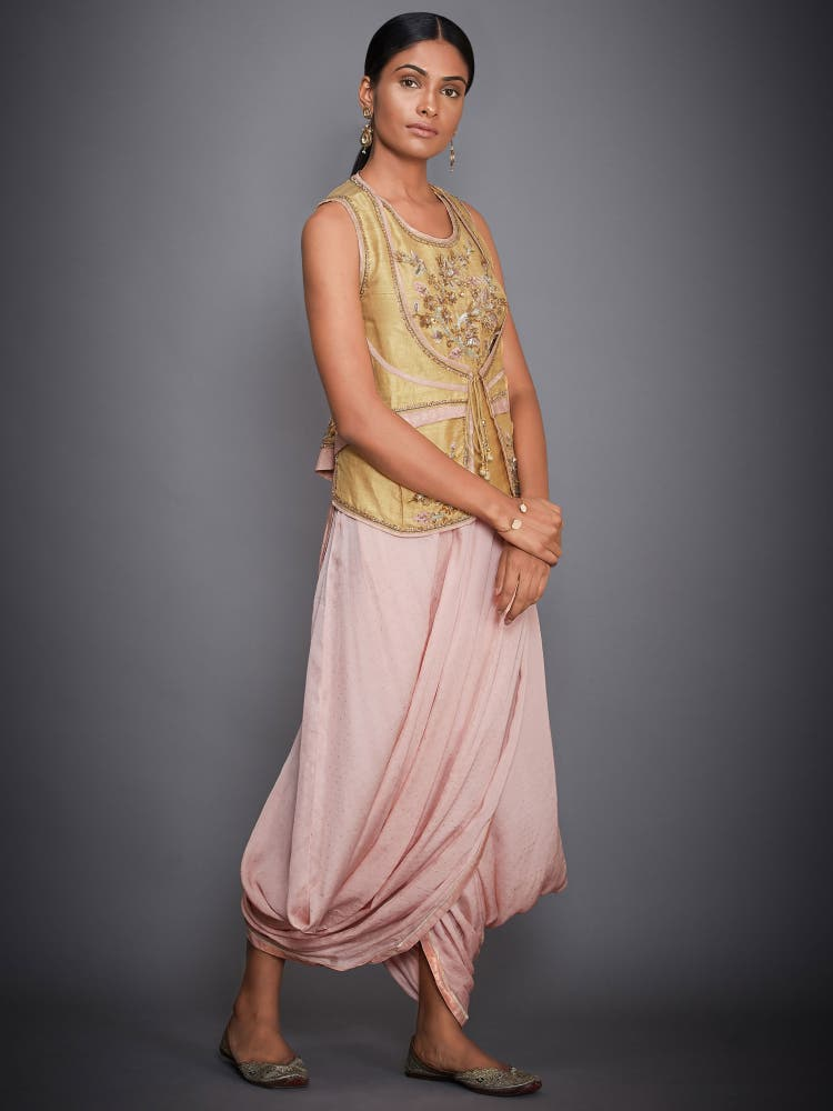 Ochre Yellow & Pink Embroidered Kurti With Dhoti Pants