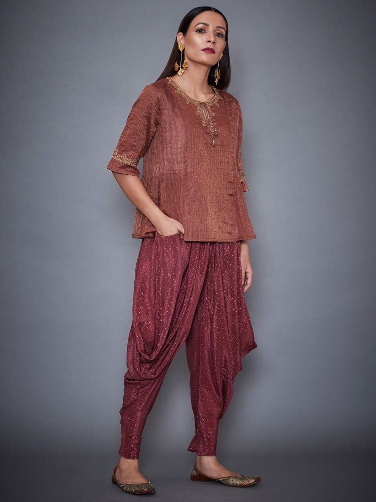 Mauve & Gold Shimmer Kurti With Dhoti Pants