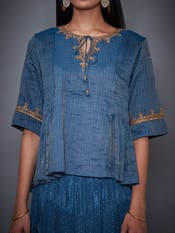 Teal Blue & Gold Shimmer Kurti With Dhoti Pants