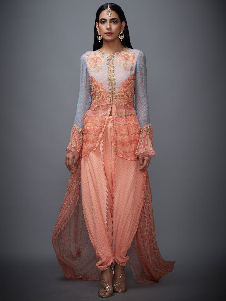 Peach & Turquoise Embroidered Ensemble