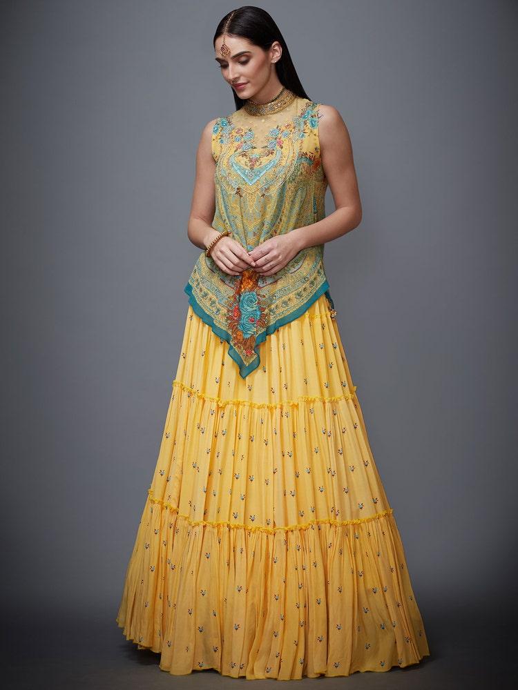Yellow & Turquoise Marvia Ensemble