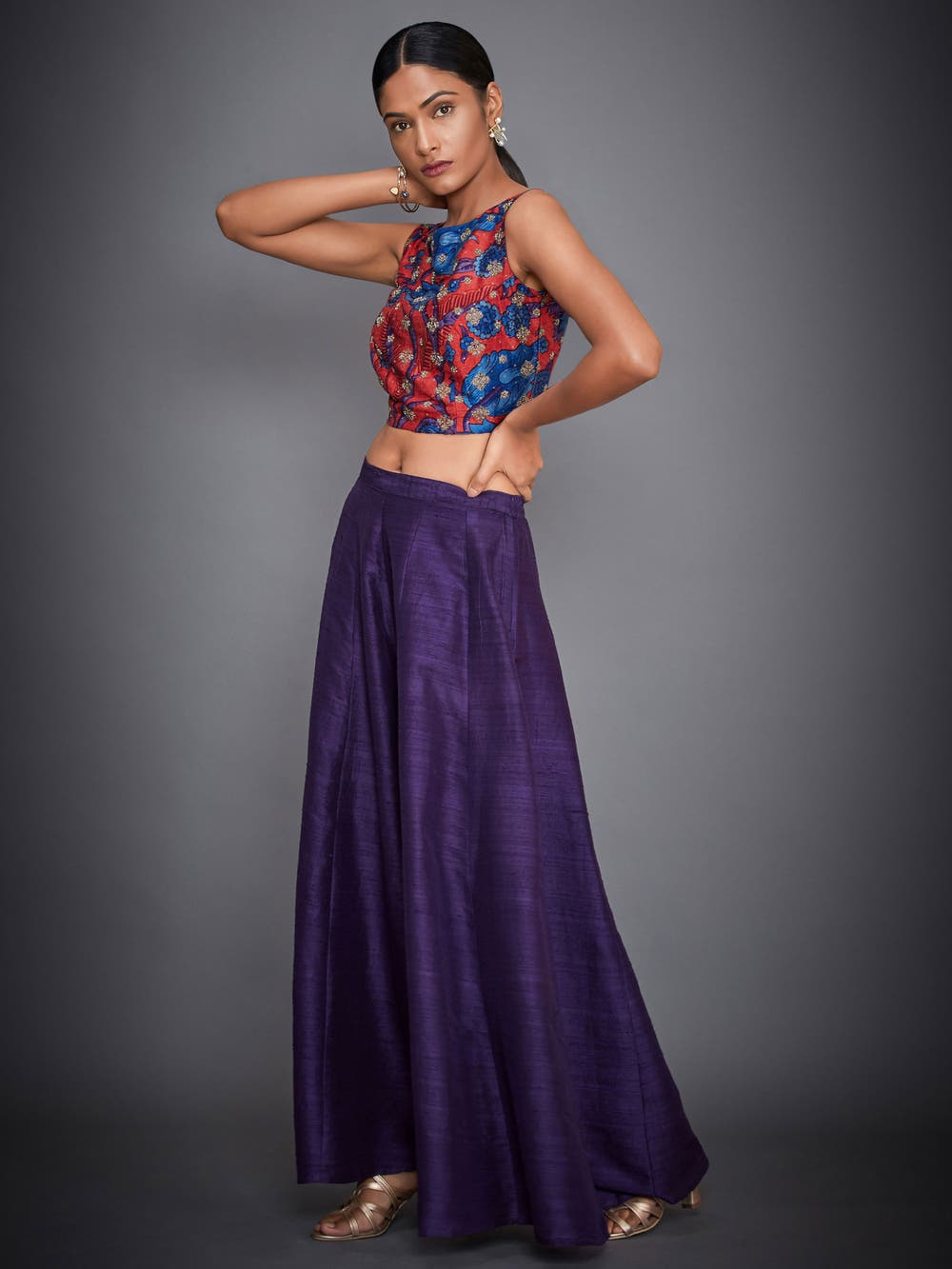 Purple & Coral Embroidered Top With Palazzo