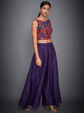 Purple & Coral Pihu Embroidered Top With Palazzo