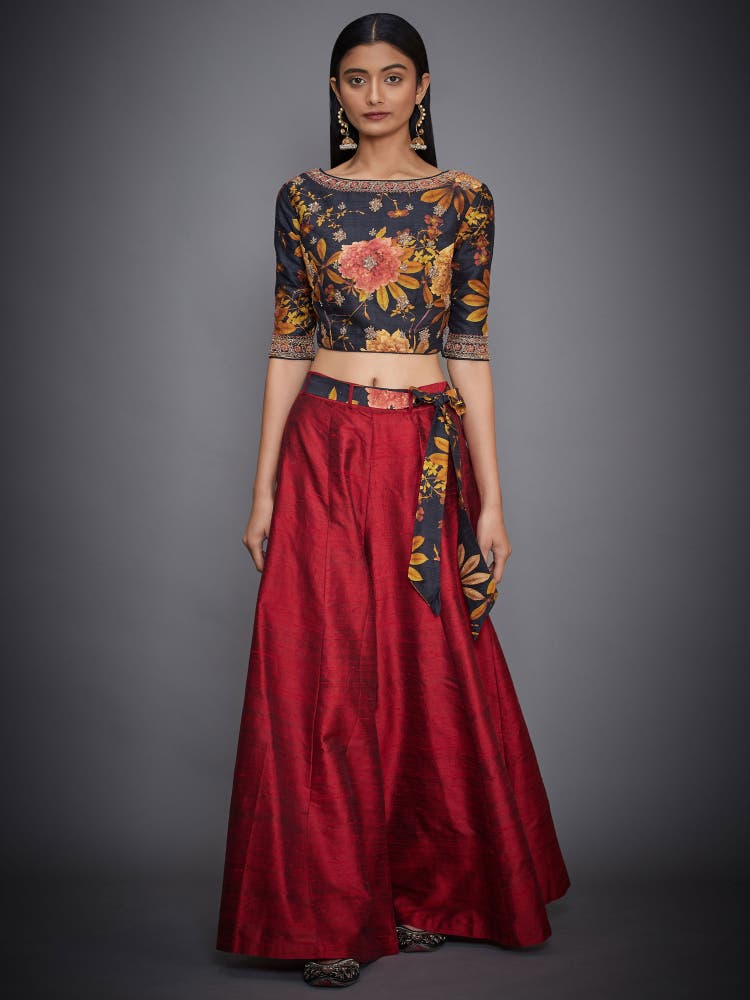 Black & Burgundy Floral Print Crop Top With Palazzo
