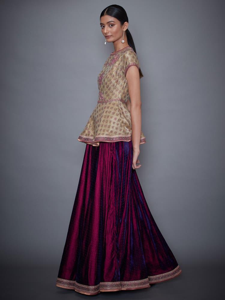 Purple & Gold Embellished Ensemble