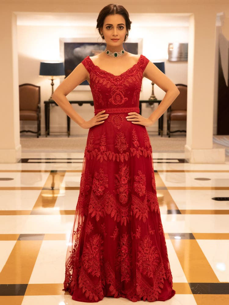 Dia Mirza in a Ruby Red Embroidered Cocktail Gown