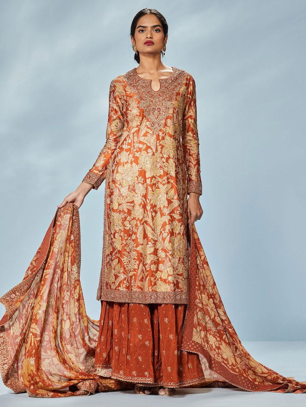 Rust & Beige Chameli Aari Hand Embroidered Suit Set