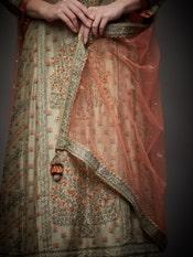 Khaki & Rust Uttama Zardozi Hand Embroidered Suit Set