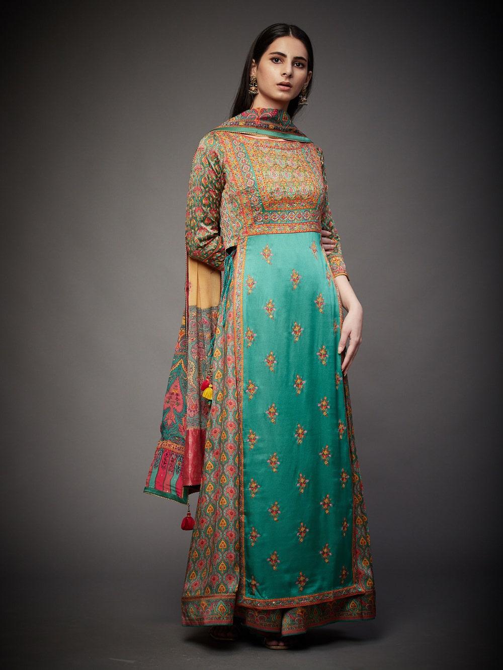 Jade & Multi Colored Anantnag Zardozi Hand Embroidered Suit Set