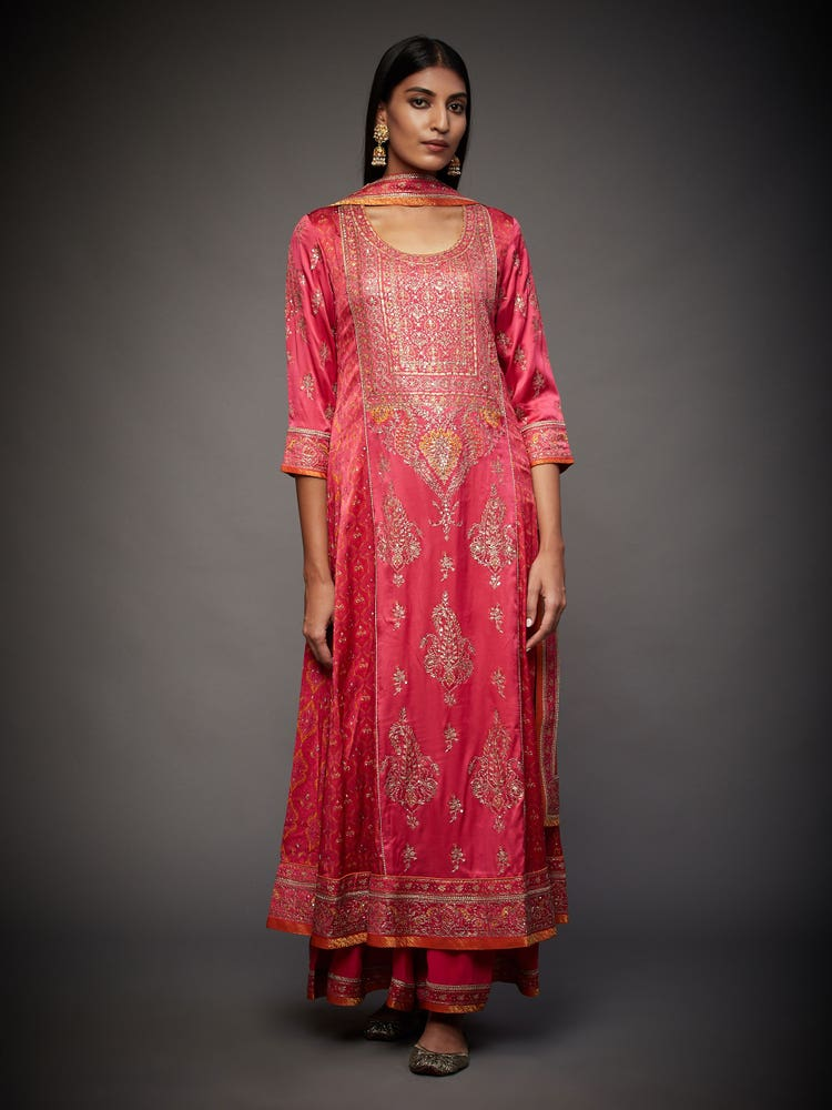Pink & Multi Colored Anantnag Aari Hand Embroidered Suit Set