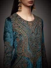 Teal Jamawar Embroidered Suit Set