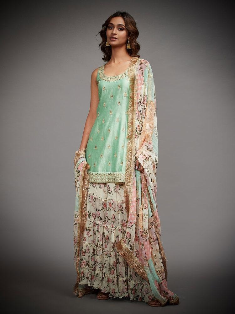 Mint & Multi Colour Jamuna Embroidered Suit Set