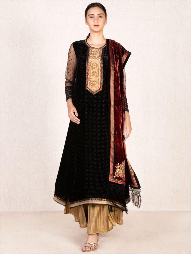Black & Gold Emboridered Velvet Suit Set