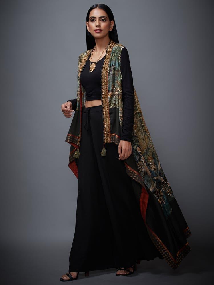 Khaki Green & Black Printed Vrindavan Cape
