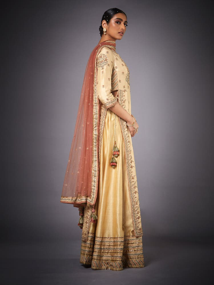 Beige & Rust Zardozi Suit Set