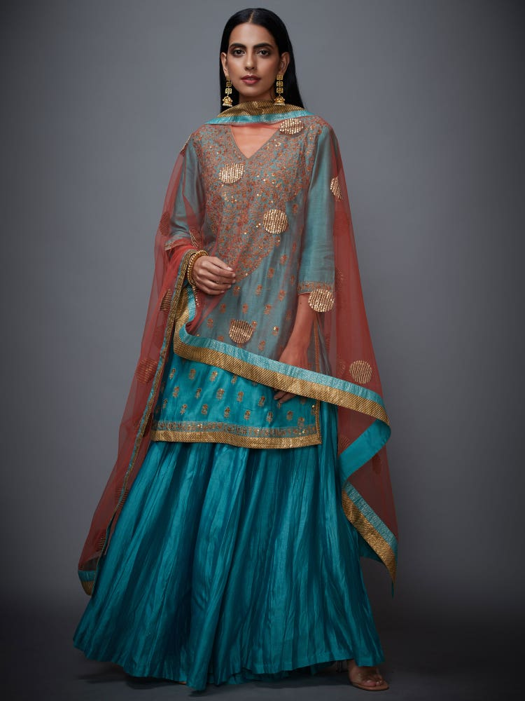 Turquoise & Gold Nawabi Embroidered Suit Set