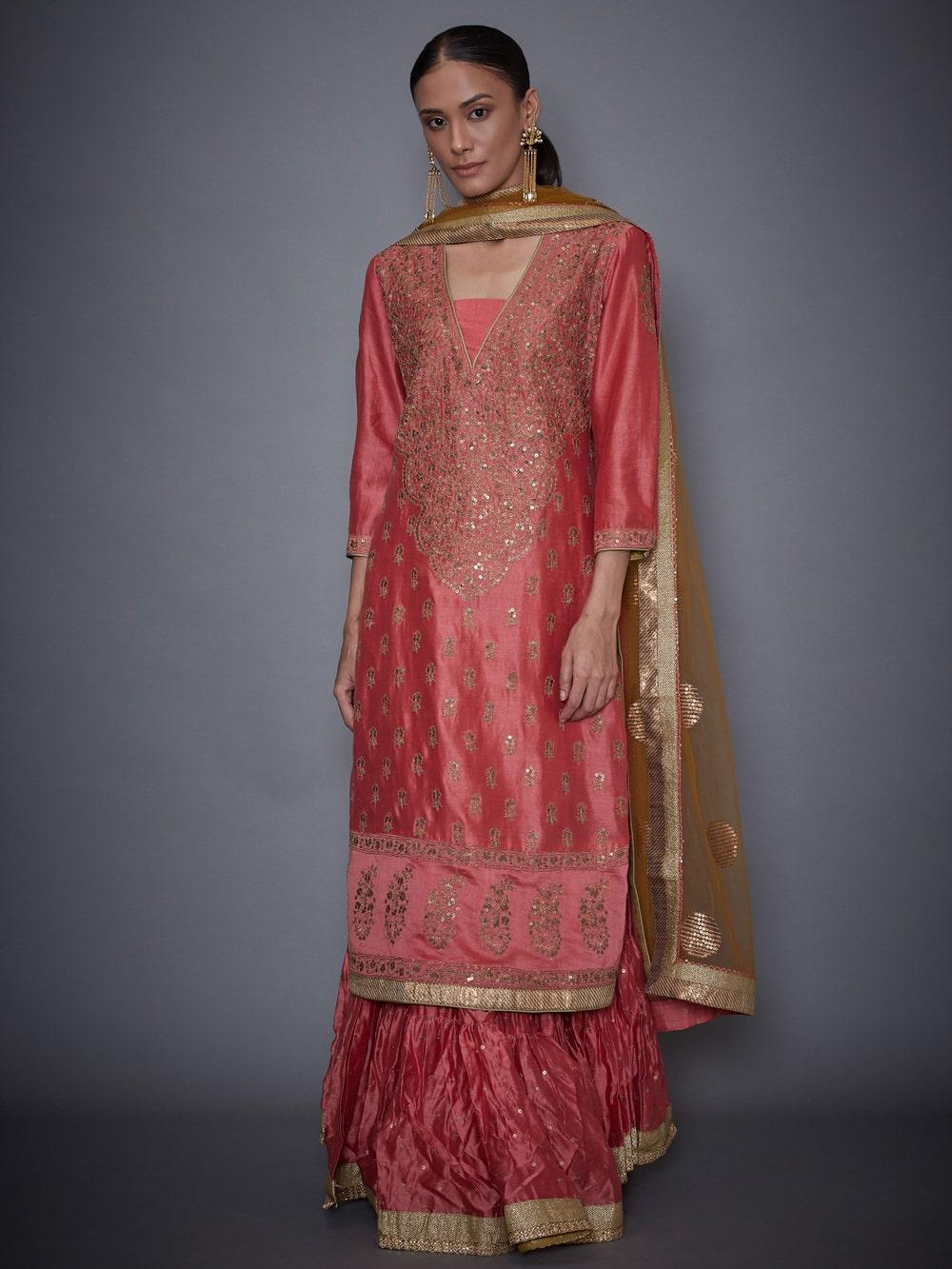 Coral & Khaki Nawabi Embroidered Kurta With Skirt And Dupatta