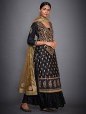 Black & Khaki Nawabi Embroidered Kurta With Dupatta And Palazzo
