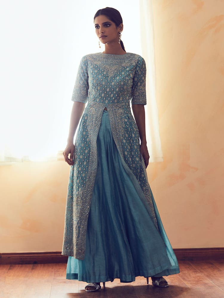 Aquamarine Embroidered Kurta With Dupatta And Palazzo