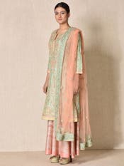 Mint & Peach Hand Embroidered Suit Set