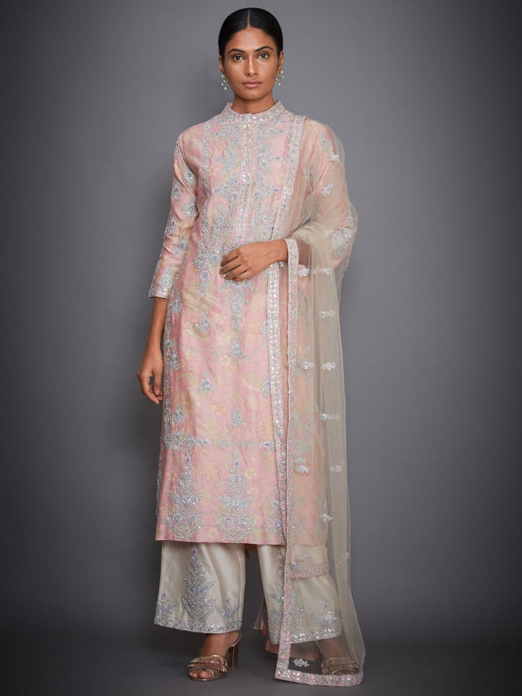 Baby Pink Embroidered Suit Set