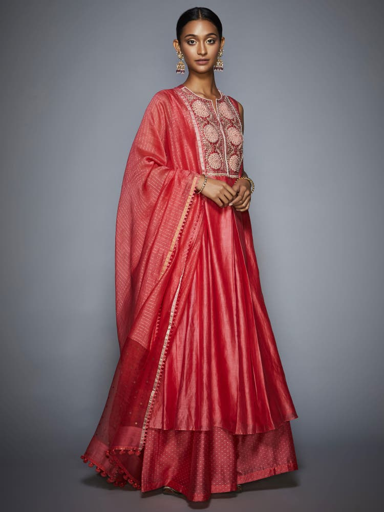Coral Embroidered Anarkali Suit