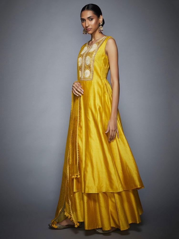 Yellow Utsav Embroidered Suit Set